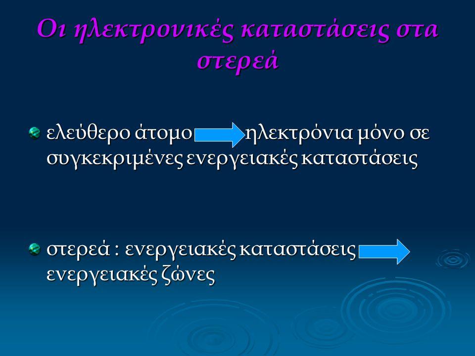 Οι ηλεκτρονικές καταστάσεις στα στερεά ελεύθερο άτομο ηλεκτρόνια μόνο σε συγκεκριμένες ενεργειακές καταστάσεις στερεά : ενεργειακές καταστάσεις ενεργε