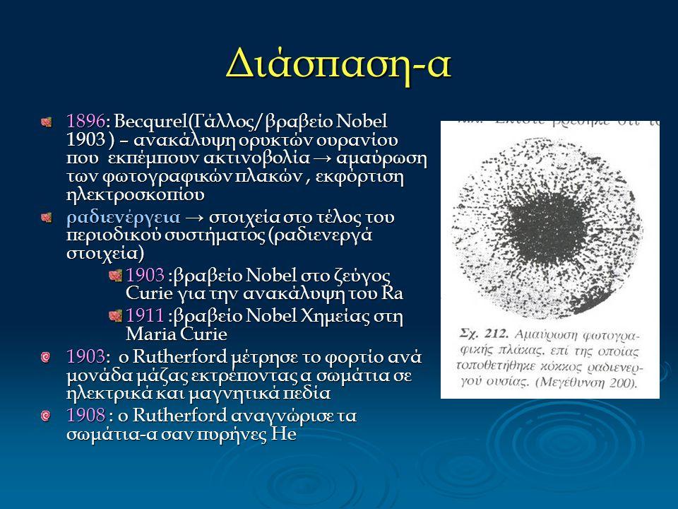 Διάσπαση-α 1896: Becqurel(Γάλλος/βραβείο Nobel 1903 ) – ανακάλυψη ορυκτών ουρανίου που εκπέμπουν ακτινοβολία → αμαύρωση των φωτογραφικών πλακών, εκφόρ