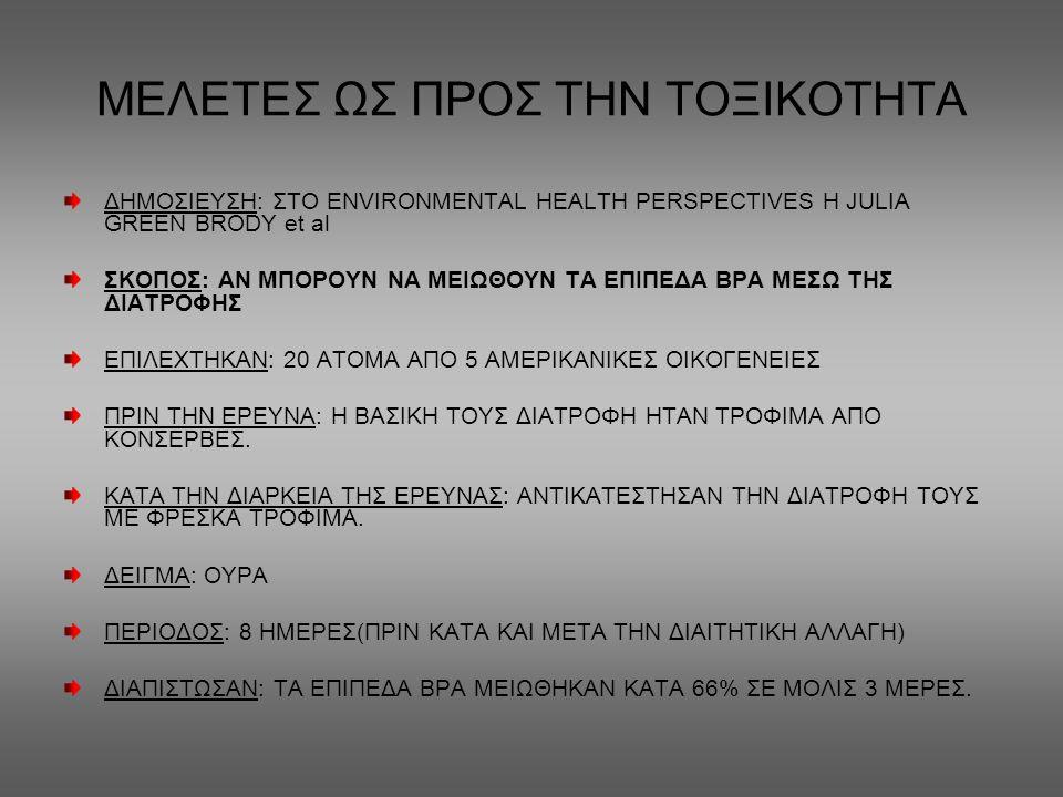 ΜΕΛΕΤΕΣ ΩΣ ΠΡΟΣ ΤΗΝ ΤΟΞΙΚΟΤΗΤΑ ΔΗΜΟΣΙΕΥΣΗ: ΣΤΟ ENVIROΝMENTAL HEALTH PERSPECTIVES Η JULIA GREEN BRODY et al ΣΚΟΠΟΣ: ΑΝ ΜΠΟΡΟΥΝ ΝΑ ΜΕΙΩΘΟΥΝ ΤΑ ΕΠΙΠΕΔΑ Β