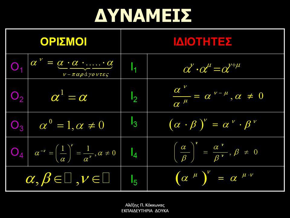 Αλέξης Π. Κόκκωνας ΕΚΠΑΙΔΕΥΤΗΡΙΑ ΔΟΥΚΑ ΔΥΝΑΜΕΙΣ ΟΡΙΣΜΟΙΙΔΙΟΤΗΤΕΣ Ο1Ο1Ο1Ο1 Ι1Ι1Ι1Ι1 Ο2Ο2Ο2Ο2 Ι2Ι2Ι2Ι2 Ο3Ο3Ο3Ο3 Ι3Ι3Ι3Ι3 Ο4Ο4Ο4Ο4 I4I4I4I4 Ι5Ι5Ι5Ι5