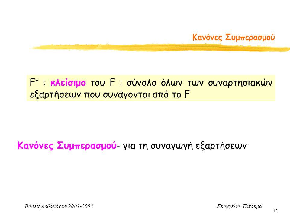 Βάσεις Δεδομένων 2001-2002 Ευαγγελία Πιτουρά 12 Κανόνες Συμπερασμού Κανόνες Συμπερασμού- για τη συναγωγή εξαρτήσεων F + : κλείσιμο του F : σύνολο όλων των συναρτησιακών εξαρτήσεων που συνάγονται από το F