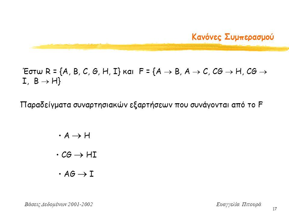 Βάσεις Δεδομένων 2001-2002 Ευαγγελία Πιτουρά 17 Κανόνες Συμπερασμού Έστω R = {A, B, C, G, H, I} και F = {A  B, A  C, CG  H, CG  I, B  H} Παραδείγματα συναρτησιακών εξαρτήσεων που συνάγονται από το F Α  Η CG  ΗI ΑG  I