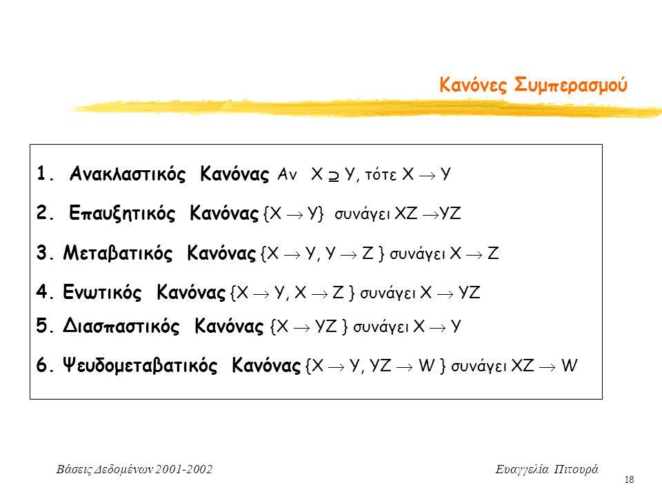 Βάσεις Δεδομένων 2001-2002 Ευαγγελία Πιτουρά 18 1.Ανακλαστικός Κανόνας Αν Χ  Υ, τότε X  Y 2.Επαυξητικός Κανόνας {X  Y} συνάγει ΧΖ  YZ 3. Μεταβατικ