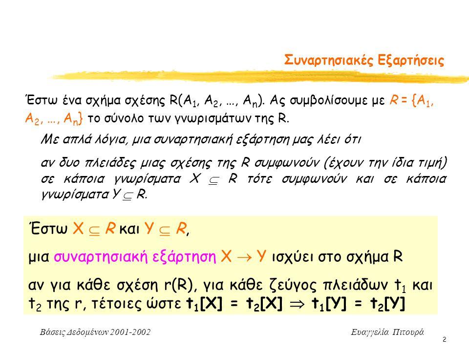 Βάσεις Δεδομένων 2001-2002 Ευαγγελία Πιτουρά 2 Συναρτησιακές Εξαρτήσεις Έστω ένα σχήμα σχέσης R(Α 1, Α 2, …, Α n ). Aς συμβολίσουμε με R = {Α 1, Α 2,