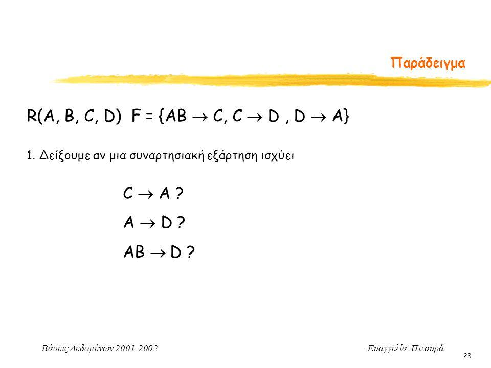 Βάσεις Δεδομένων 2001-2002 Ευαγγελία Πιτουρά 23 Παράδειγμα 1. Δείξουμε αν μια συναρτησιακή εξάρτηση ισχύει R(A, B, C, D) F = {AB  C, C  D, D  A} C
