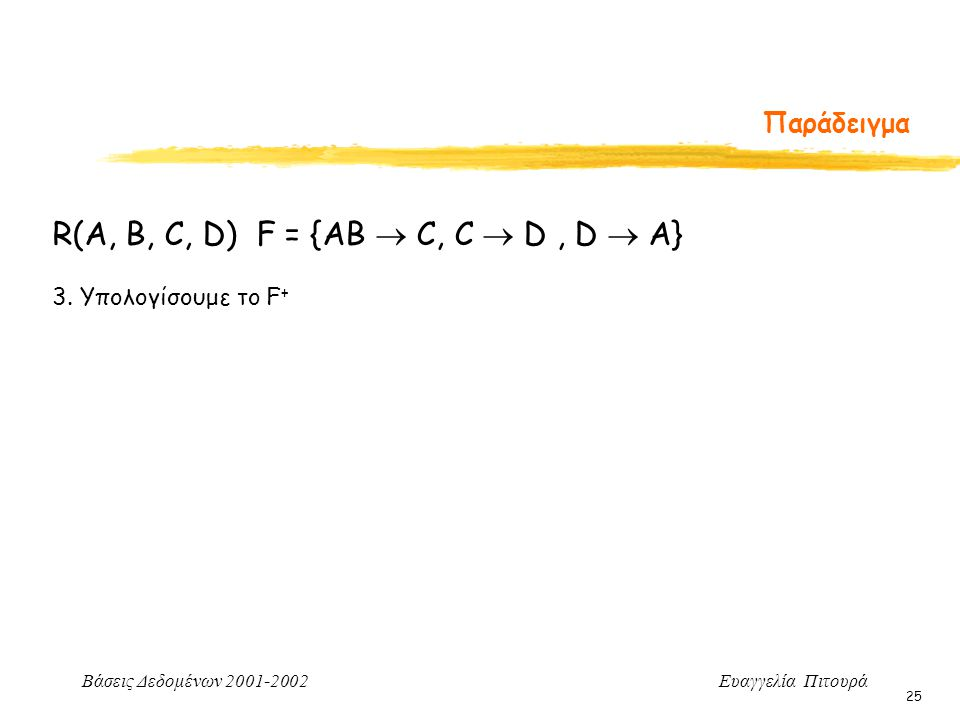 Βάσεις Δεδομένων 2001-2002 Ευαγγελία Πιτουρά 25 Παράδειγμα 3. Υπολογίσουμε το F + R(A, B, C, D) F = {AB  C, C  D, D  A}