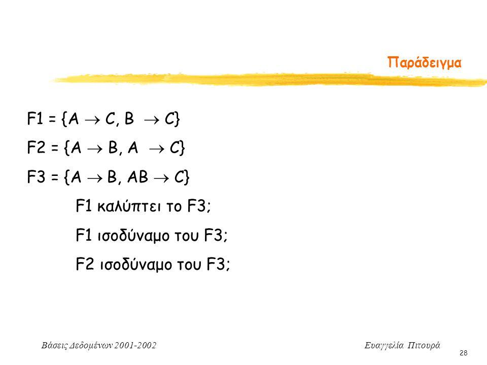 Βάσεις Δεδομένων 2001-2002 Ευαγγελία Πιτουρά 28 Παράδειγμα F1 = {A  C, B  C} F2 = {A  B, A  C} F3 = {A  B, AB  C} F1 καλύπτει το F3; F1 ισοδύναμ
