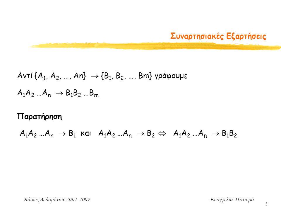 Βάσεις Δεδομένων 2001-2002 Ευαγγελία Πιτουρά 14 Κανόνες Συμπερασμού {X  Y} ΧΖ  YZ =Επαυξητικός Κανόνας Απόδειξη (με επαγωγή σε άτοπο) Έστω ότι σε κάποιο στιγμιότυπο της r ισχύει X  Y (1) αλλά όχι ΧΖ  YZ (2) Από (2 & ορισμό), υπάρχουν δυο πλειάδες t1[XZ] = t2[XZ] (3) και t1[YZ]  t2[YZ] Από (3), t1[X] = t2[X] (4) και t1[Z] = t2[Z] (5) Από (1) και (4), t1[Y] = t2[y] (6) Από (5) και (6), t1[ΥZ] = t2[ΥZ] Άτοπο!