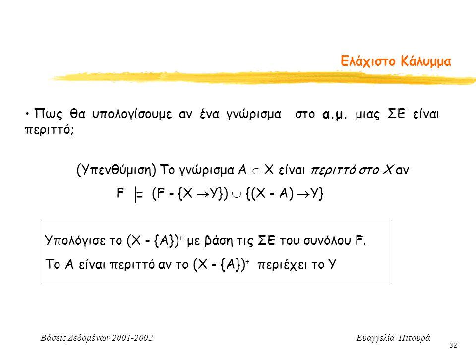 Βάσεις Δεδομένων 2001-2002 Ευαγγελία Πιτουρά 32 Ελάχιστο Κάλυμμα Πως θα υπολογίσουμε αν ένα γνώρισμα στο α.μ.