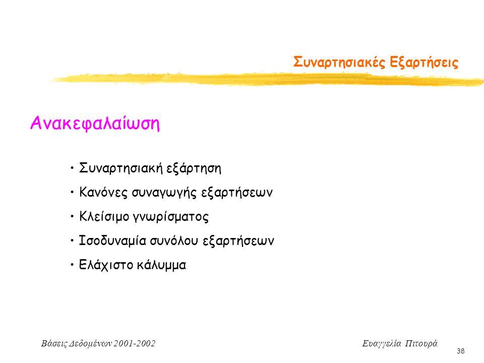 Βάσεις Δεδομένων 2001-2002 Ευαγγελία Πιτουρά 38 Συναρτησιακές Εξαρτήσεις Ανακεφαλαίωση Συναρτησιακή εξάρτηση Κανόνες συναγωγής εξαρτήσεων Κλείσιμο γνωρίσματος Ισοδυναμία συνόλου εξαρτήσεων Ελάχιστο κάλυμμα