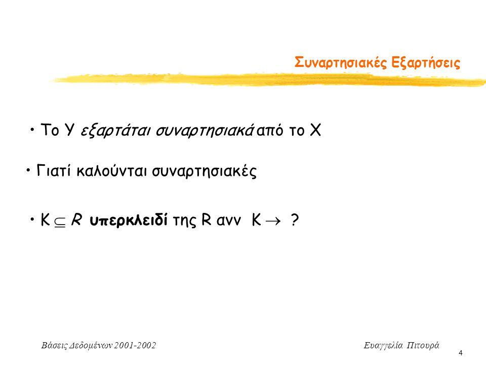 Βάσεις Δεδομένων 2001-2002 Ευαγγελία Πιτουρά 4 Συναρτησιακές Εξαρτήσεις To Y εξαρτάται συναρτησιακά από το X Γιατί καλούνται συναρτησιακές Κ  R υπερκλειδί της R ανν K 