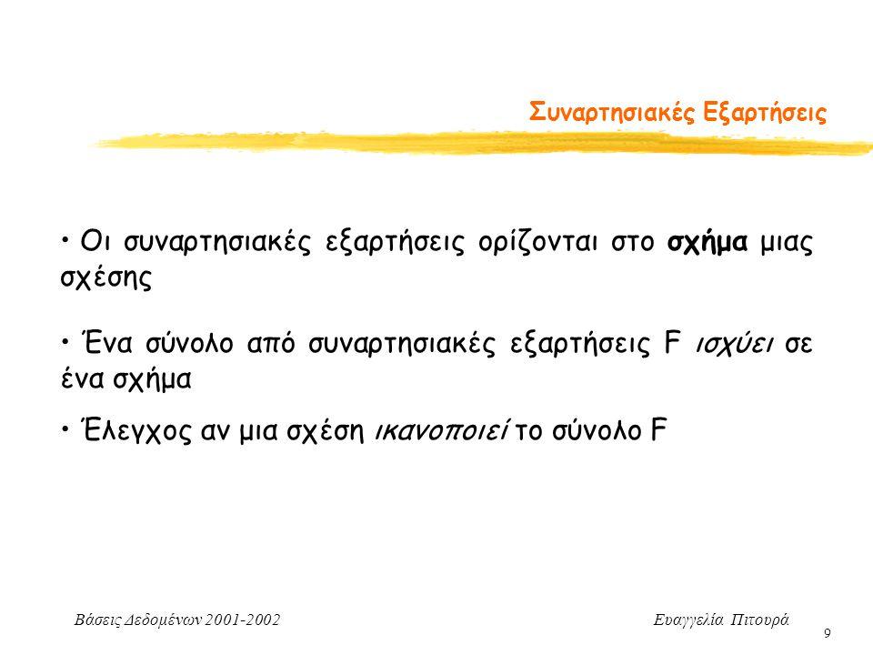 Βάσεις Δεδομένων 2001-2002 Ευαγγελία Πιτουρά 9 Συναρτησιακές Εξαρτήσεις Οι συναρτησιακές εξαρτήσεις ορίζονται στο σχήμα μιας σχέσης Ένα σύνολο από συναρτησιακές εξαρτήσεις F ισχύει σε ένα σχήμα Έλεγχος αν μια σχέση ικανοποιεί το σύνολο F