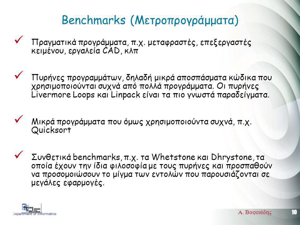 10 Α. Βαφειάδης Benchmarks (Μετροπρογράμματα) Πραγματικά προγράμματα, π.χ. μεταφραστές, επεξεργαστές κειμένου, εργαλεία CAD, κλπ Πυρήνες προγραμμάτων,