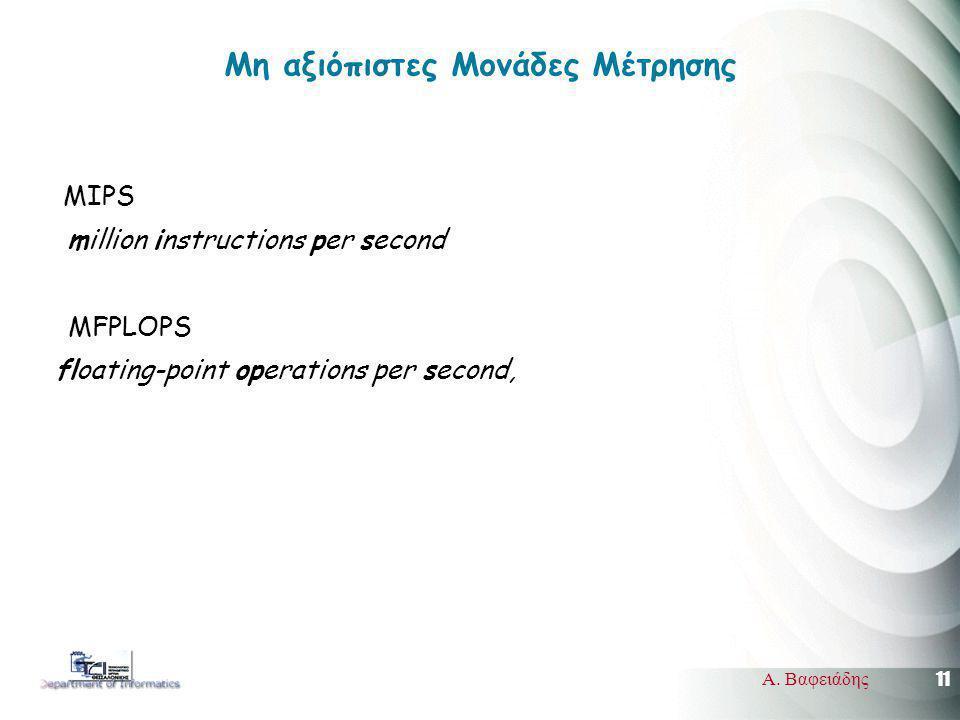 11 Α. Βαφειάδης Mη αξιόπιστες Μονάδες Μέτρησης MIPS million instructions per second MFPLOPS floating-point operations per second,