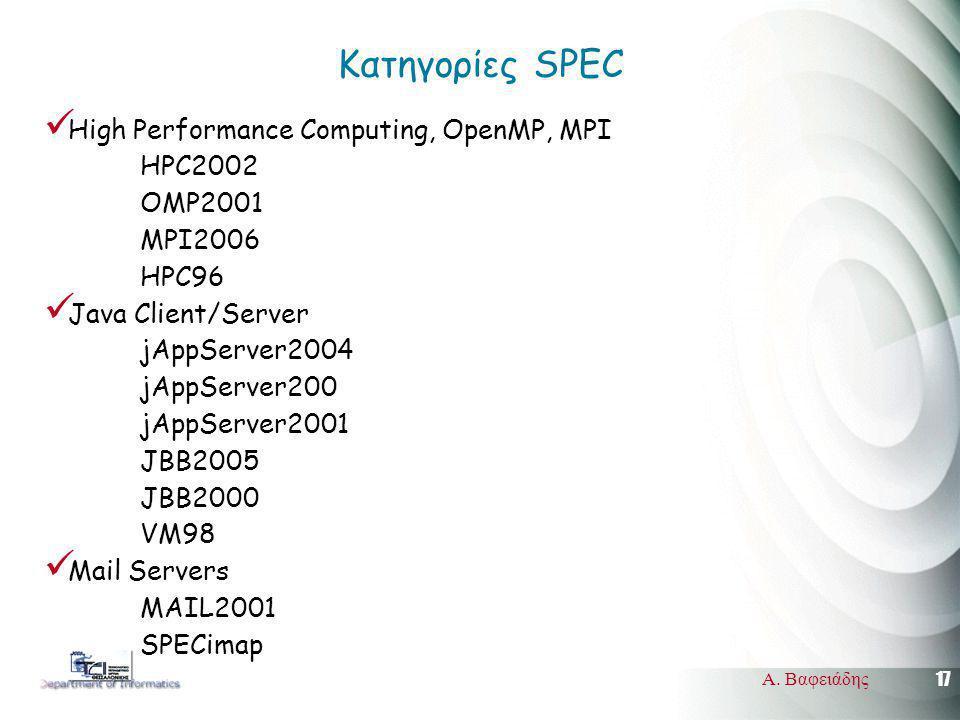 17 Α. Βαφειάδης Κατηγορίες SPEC High Performance Computing, OpenMP, MPI HPC2002 OMP2001 MPI2006 HPC96 Java Client/Server jAppServer2004 jAppServer200