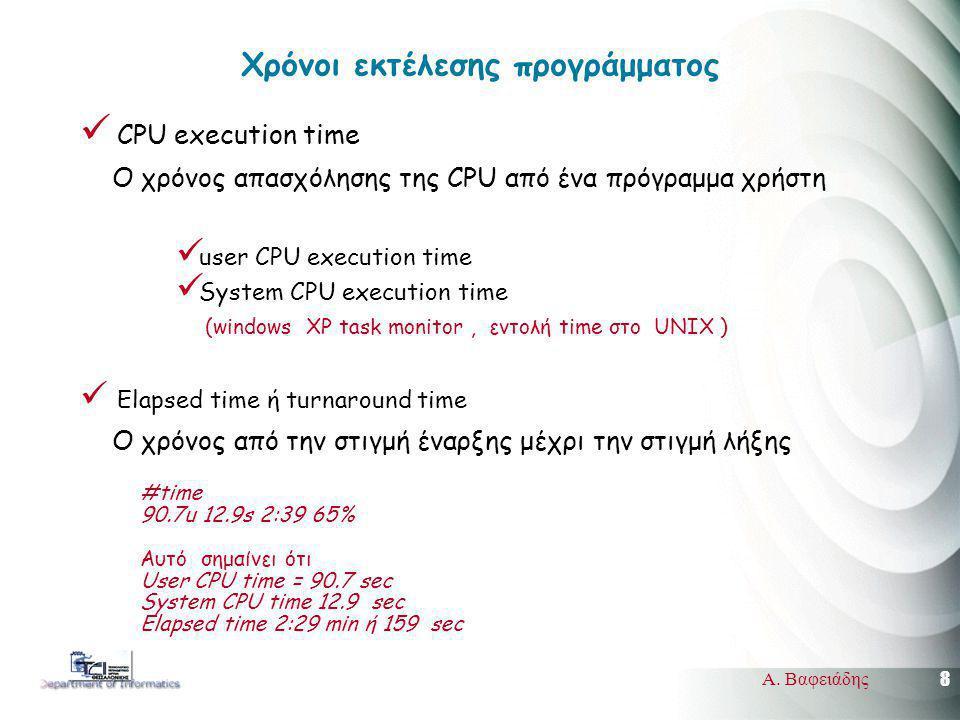 8 Α. Βαφειάδης Χρόνοι εκτέλεσης προγράμματος CPU execution time Ο χρόνος απασχόλησης της CPU από ένα πρόγραμμα χρήστη user CPU execution time System C