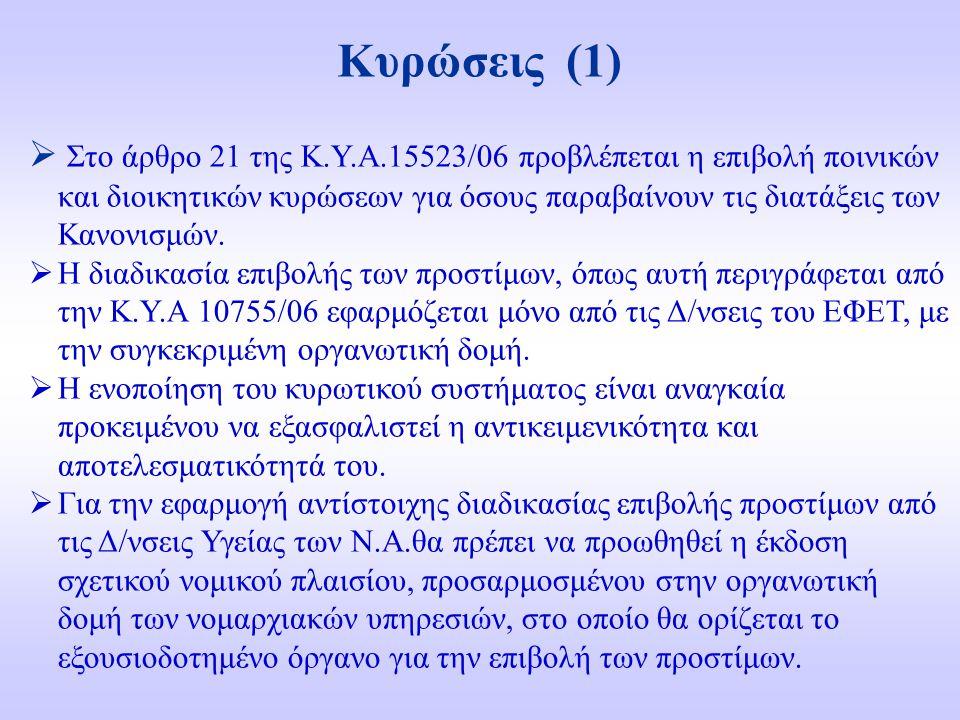 Κυρώσεις (1)  Στο άρθρο 21 της Κ.Υ.Α.15523/06 προβλέπεται η επιβολή ποινικών και διοικητικών κυρώσεων για όσους παραβαίνουν τις διατάξεις των Κανονισμών.