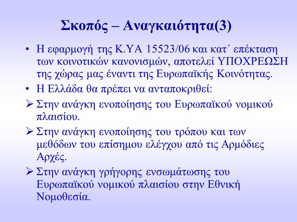 Σκοπός – Αναγκαιότητα(3) Η εφαρμογή της Κ.ΥΑ 15523/06 και κατ΄ επέκταση των κοινοτικών κανονισμών, αποτελεί ΥΠΟΧΡΕΩΣΗ της χώρας μας έναντι της Ευρωπαϊ