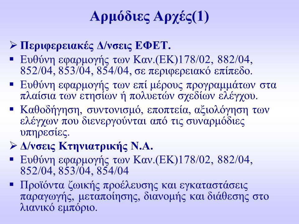 Αρμόδιες Αρχές(1)  Περιφερειακές Δ/νσεις ΕΦΕΤ.  Ευθύνη εφαρμογής των Καν.(ΕΚ)178/02, 882/04, 852/04, 853/04, 854/04, σε περιφερειακό επίπεδο.  Ευθύ