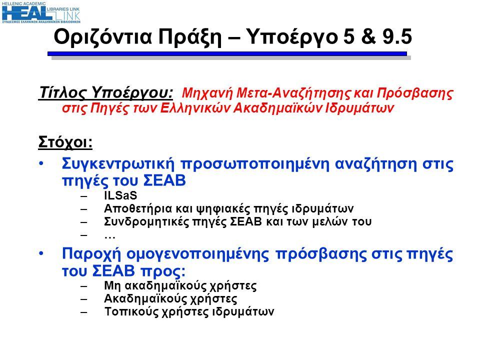 Τίτλος Υποέργου: Μηχανή Μετα-Αναζήτησης και Πρόσβασης στις Πηγές των Ελληνικών Ακαδημαϊκών Ιδρυμάτων Στόχοι: Συγκεντρωτική προσωποποιημένη αναζήτηση σ