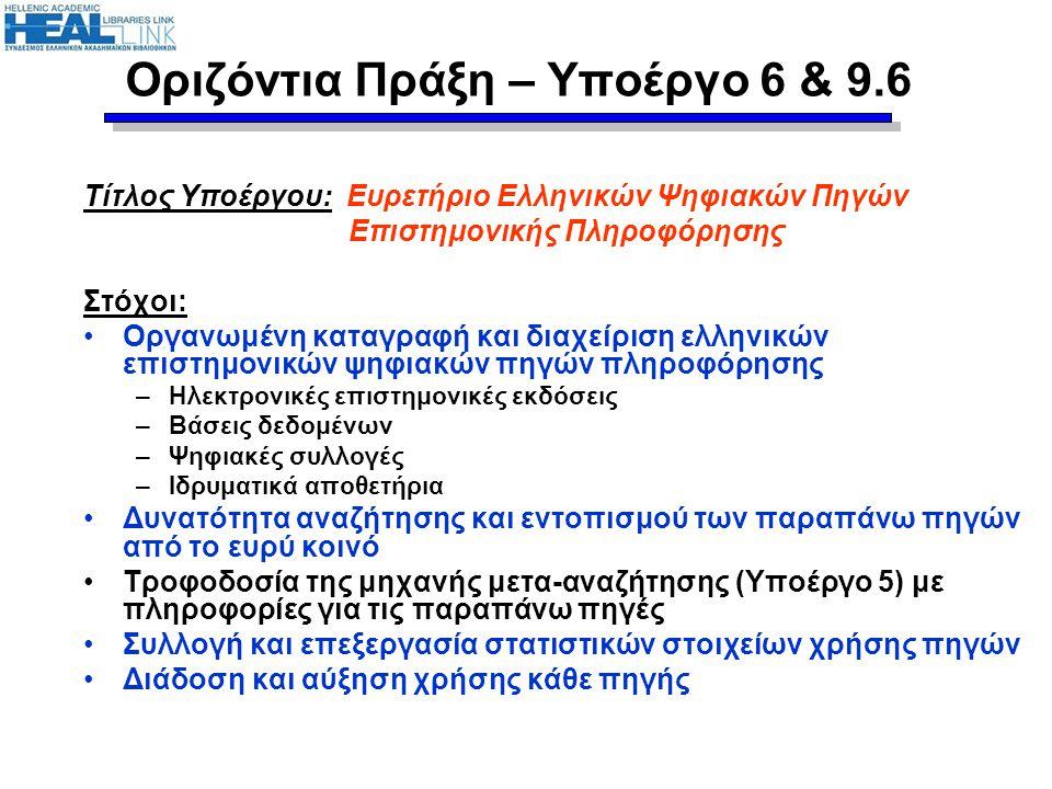 Τίτλος Υποέργου: Ευρετήριο Ελληνικών Ψηφιακών Πηγών Επιστημονικής Πληροφόρησης Στόχοι: Οργανωμένη καταγραφή και διαχείριση ελληνικών επιστημονικών ψηφ