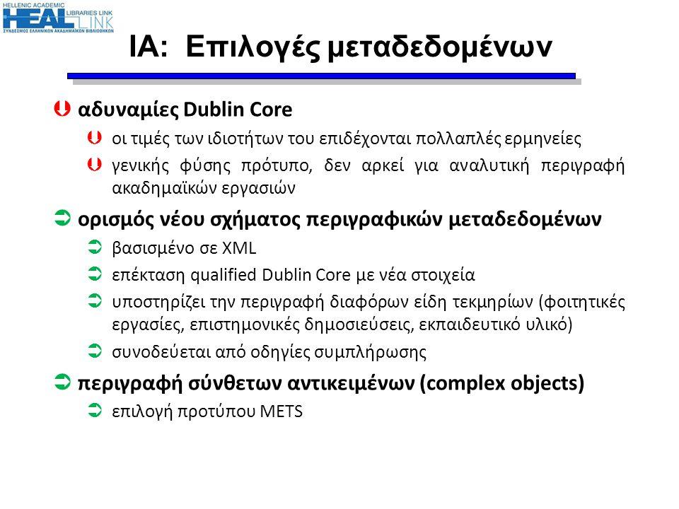 ΙΑ: Επιλογές μεταδεδομένων  αδυναμίες Dublin Core  οι τιμές των ιδιοτήτων του επιδέχονται πολλαπλές ερμηνείες  γενικής φύσης πρότυπο, δεν αρκεί για