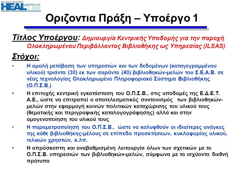 Οριζόντια Πράξη – Υποέργο 4 & 9.4 (συνέχ.) Χρονοδιάγραμμα 4.2: Υπογραφή σύμβασης με ανάδοχο Παρόν στάδιο υλοποίησης ( Νοέμβριος 2011):  Προσδιορισμός των εμπλεκόμενων ακαδημαϊκών βιβλιοθηκών, καθώς και των σχημάτων συνεργατικής επικοινωνίας/συνεργασίας τα οποία θα εφαρμοστούν  Συγγραφή αναλυτικών προδιαγραφών διαγωνισμού του DHARE