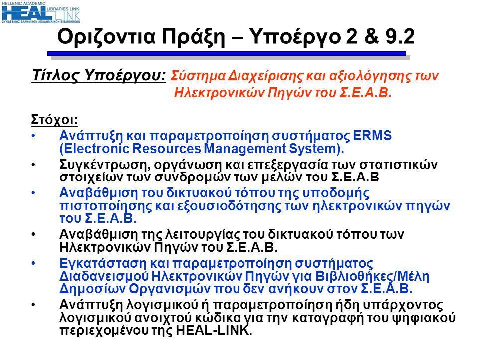 Τίτλος Υποέργου: Ευρετήριο Ελληνικών Ψηφιακών Πηγών Επιστημονικής Πληροφόρησης Στόχοι: Οργανωμένη καταγραφή και διαχείριση ελληνικών επιστημονικών ψηφιακών πηγών πληροφόρησης –Ηλεκτρονικές επιστημονικές εκδόσεις –Βάσεις δεδομένων –Ψηφιακές συλλογές –Ιδρυματικά αποθετήρια Δυνατότητα αναζήτησης και εντοπισμού των παραπάνω πηγών από το ευρύ κοινό Τροφοδοσία της μηχανής μετα-αναζήτησης (Υποέργο 5) με πληροφορίες για τις παραπάνω πηγές Συλλογή και επεξεργασία στατιστικών στοιχείων χρήσης πηγών Διάδοση και αύξηση χρήσης κάθε πηγής Οριζόντια Πράξη – Υποέργο 6 & 9.6