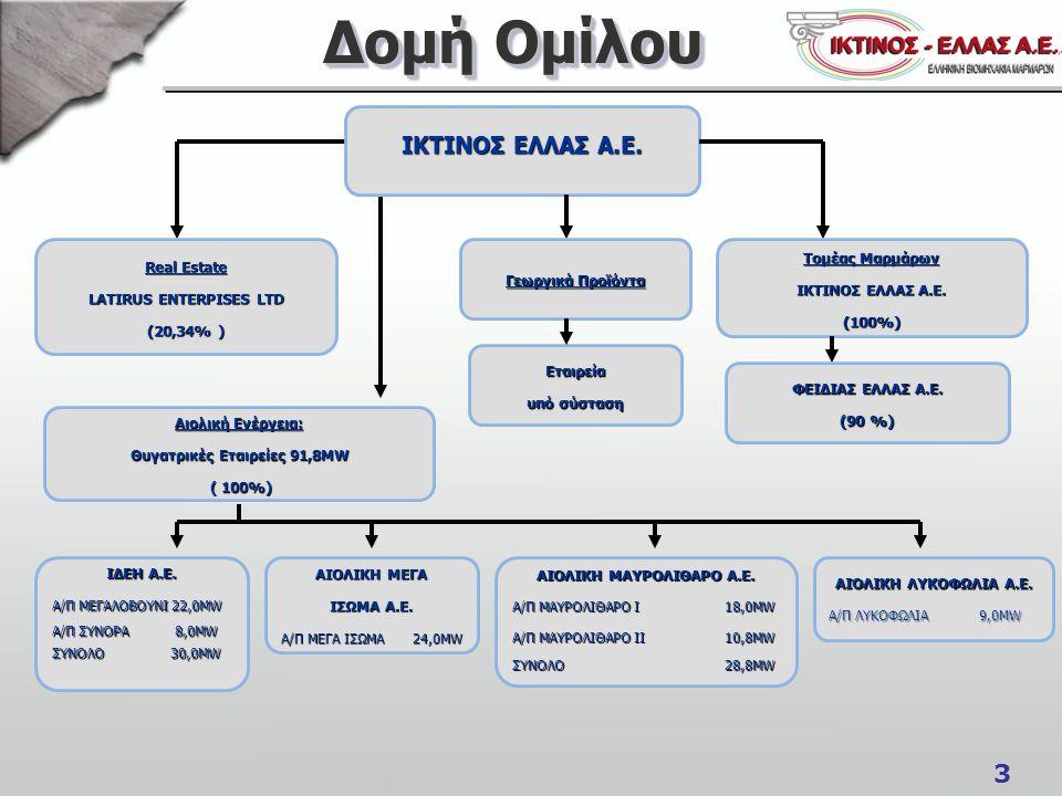 3 Δομή Ομίλου ΙΚΤΙΝΟΣ ΕΛΛΑΣ Α.Ε.