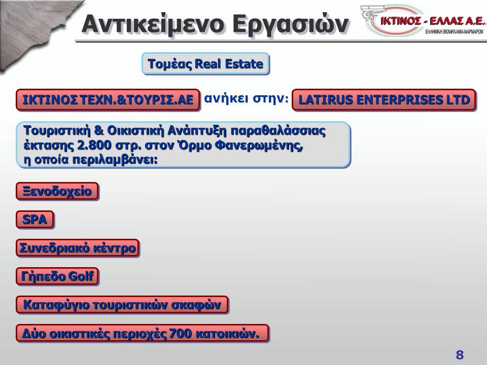 8 Αντικείμενο Εργασιών ΙΚΤΙΝΟΣ ΤΕΧΝ.&ΤΟΥΡΙΣ.ΑΕ Τομέας Real Estate Τουριστική & Οικιστική Ανάπτυξη παραθαλάσσιας έκτασης 2.800 στρ.
