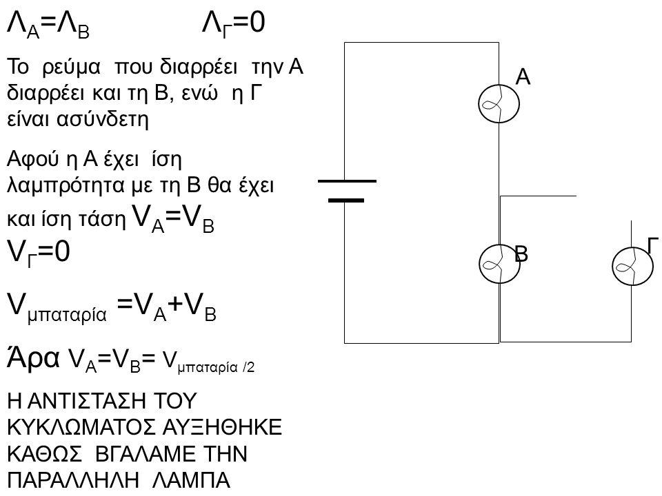 Α Β Γ Λ Α =Λ Β Λ Γ =0 Το ρεύμα που διαρρέει την Α διαρρέει και τη Β, ενώ η Γ είναι ασύνδετη Αφού η Α έχει ίση λαμπρότητα με τη Β θα έχει και ίση τάση