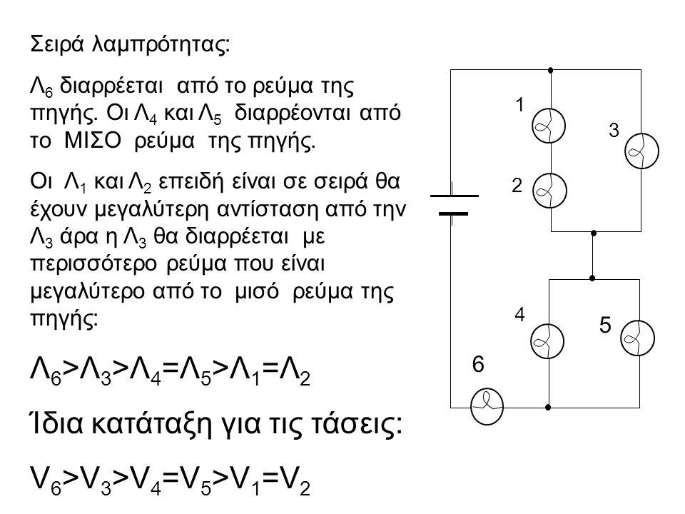 1 2 3 4 5 6 Σειρά λαμπρότητας: Λ 6 διαρρέεται από το ρεύμα της πηγής. Οι Λ 4 και Λ 5 διαρρέονται από το ΜΙΣΟ ρεύμα της πηγής. Οι Λ 1 και Λ 2 επειδή εί