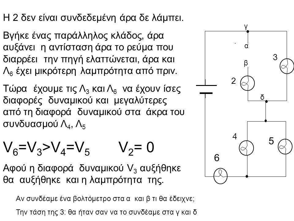 H 2 δεν είναι συνδεδεμένη άρα δε λάμπει. Βγήκε ένας παράλληλος κλάδος, άρα αυξάνει η αντίσταση άρα το ρεύμα που διαρρέει την πηγή ελαττώνεται, άρα και