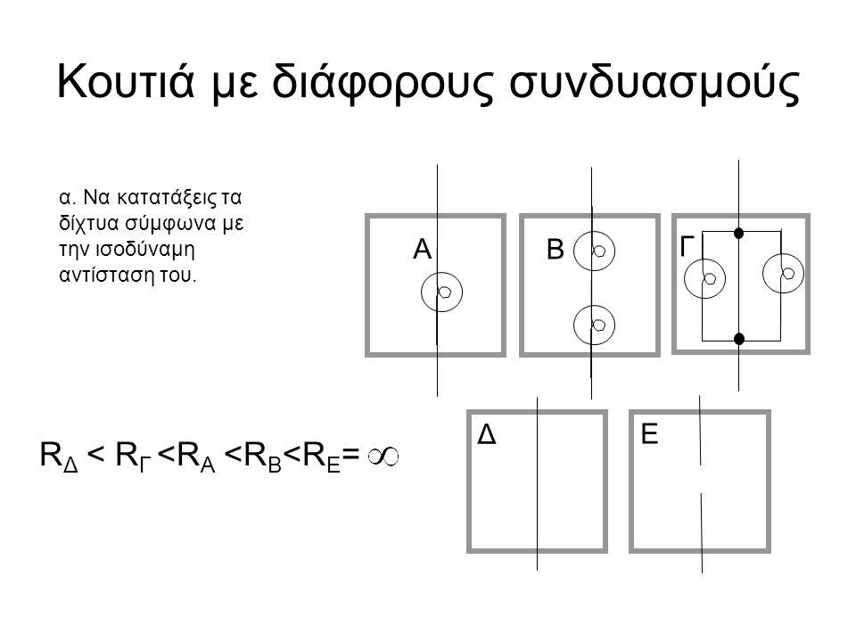 Κουτιά με διάφορους συνδυασμούς Α Β Γ Δ Ε α. Να κατατάξεις τα δίχτυα σύμφωνα με την ισοδύναμη αντίσταση του. R Δ < R Γ <R Α <R B <R E =