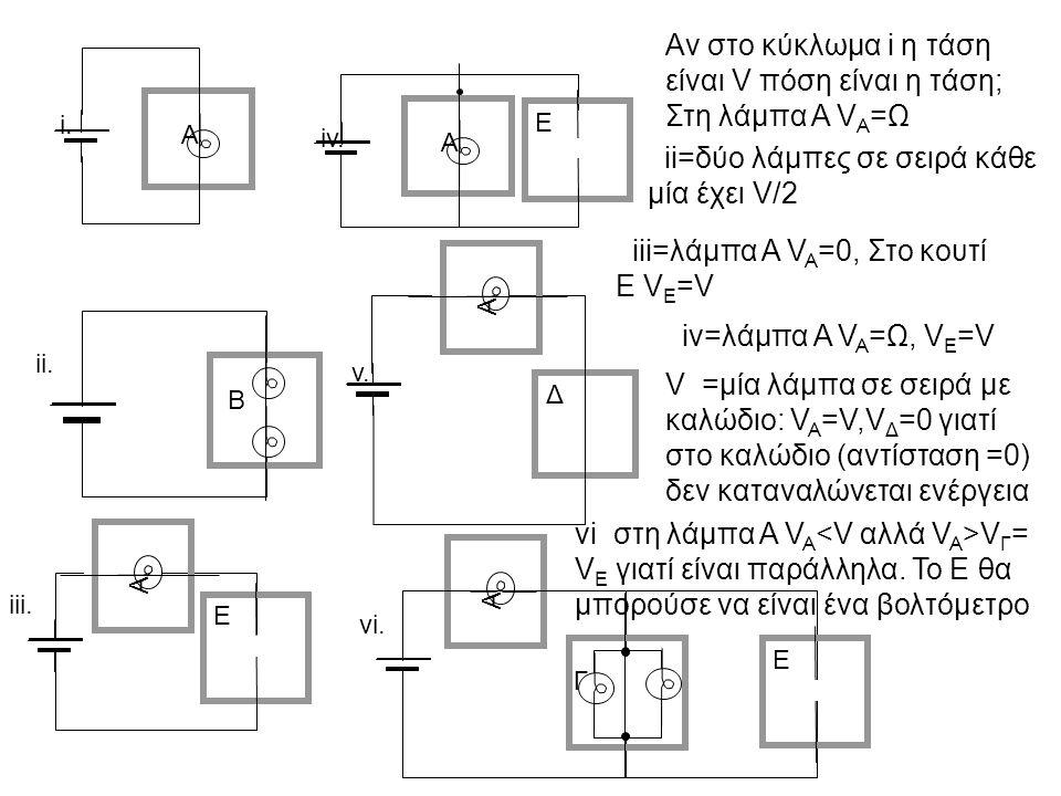 Α i. iv. Α Ε ii. v. Δ Α Β iii. Α Ε vi. Α Γ Ε Αν στο κύκλωμα i η τάση είναι V πόση είναι η τάση; Στη λάμπα Α V Α =Ω iv=λάμπα Α V A =Ω, V E =V ii=δύο λά