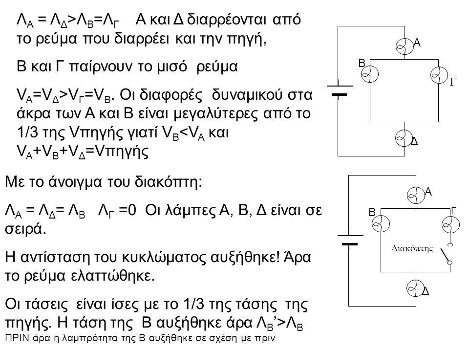 Α Β Δ Γ Λ A = Λ Δ >Λ Β =Λ Γ Α και Δ διαρρέονται από το ρεύμα που διαρρέει και την πηγή, Β και Γ παίρνουν το μισό ρεύμα V A =V Δ >V Γ =V Β. Οι διαφορές