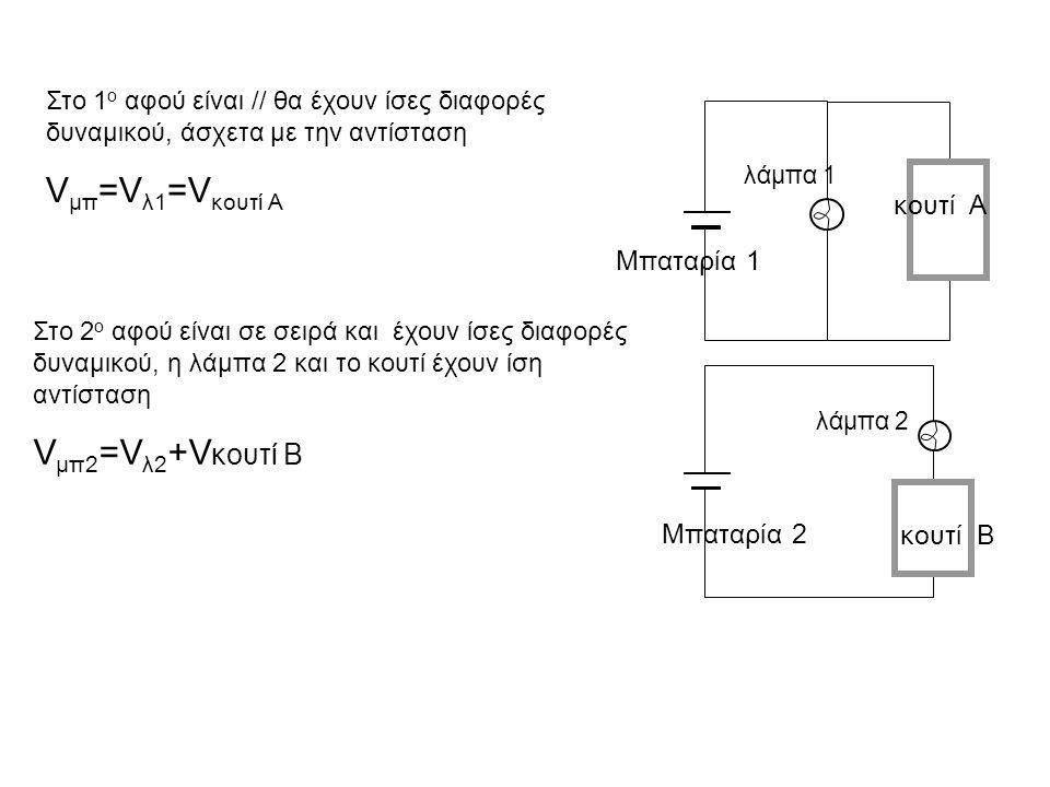 λάμπα 1 κουτί Α Μπαταρία 1 λάμπα 2 κουτί Β Μπαταρία 2 Στο 1 ο αφού είναι // θα έχουν ίσες διαφορές δυναμικού, άσχετα με την αντίσταση V μπ =V λ1 =V κο