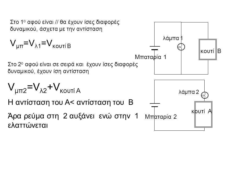 λάμπα 1 Μπαταρία 1 λάμπα 2 Μπαταρία 2 Στο 1 ο αφού είναι // θα έχουν ίσες διαφορές δυναμικού, άσχετα με την αντίσταση V μπ =V λ1 =V κουτί B Στο 2 ο αφ