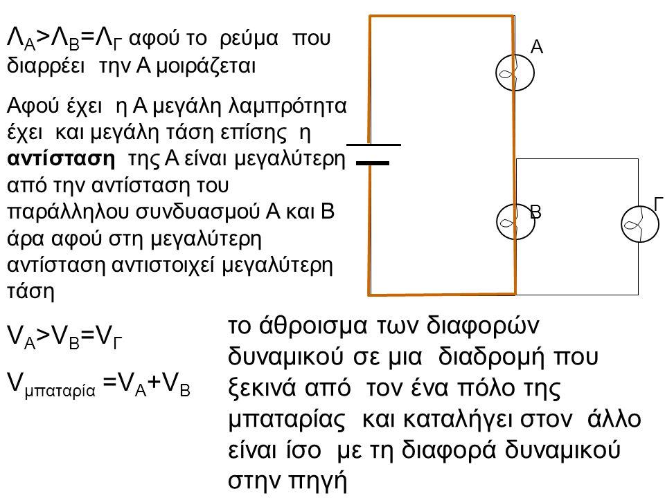 Α Β Γ Λ Α >Λ Β =Λ Γ αφού το ρεύμα που διαρρέει την Α μοιράζεται Αφού έχει η Α μεγάλη λαμπρότητα έχει και μεγάλη τάση επίσης η αντίσταση της Α είναι με