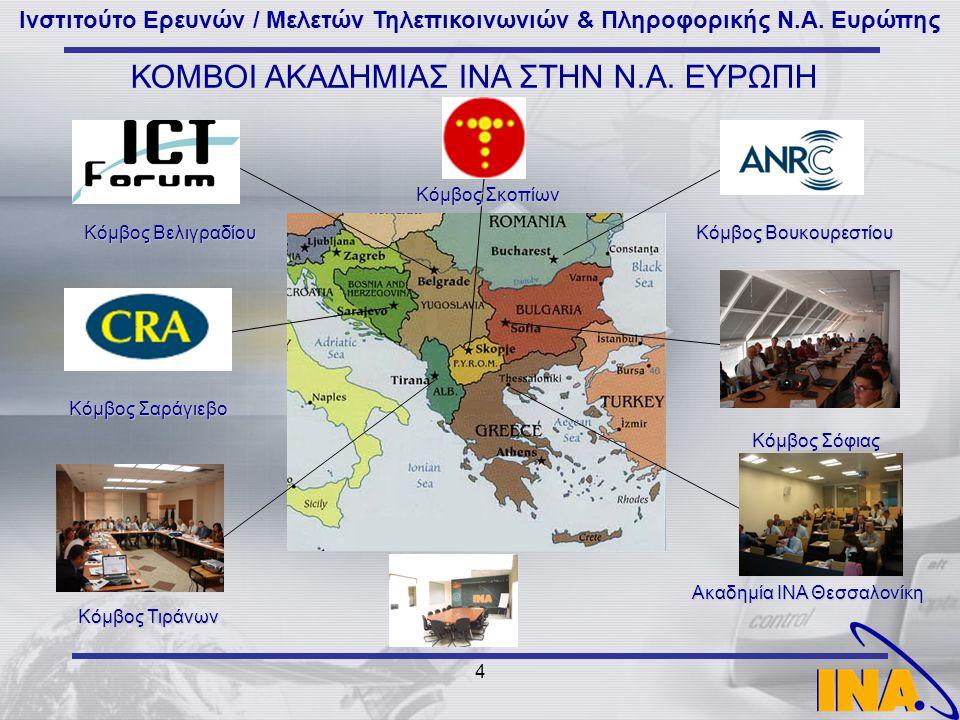 Ινστιτούτο Ερευνών / Μελετών Τηλεπικοινωνιών & Πληροφορικής Ν.Α. Ευρώπης 4 Κόμβος Σόφιας Κόμβος Βελιγραδίου Ακαδημία ΙΝΑ Θεσσαλονίκη ΚΟΜΒΟΙ ΑΚΑΔΗΜΙΑΣ