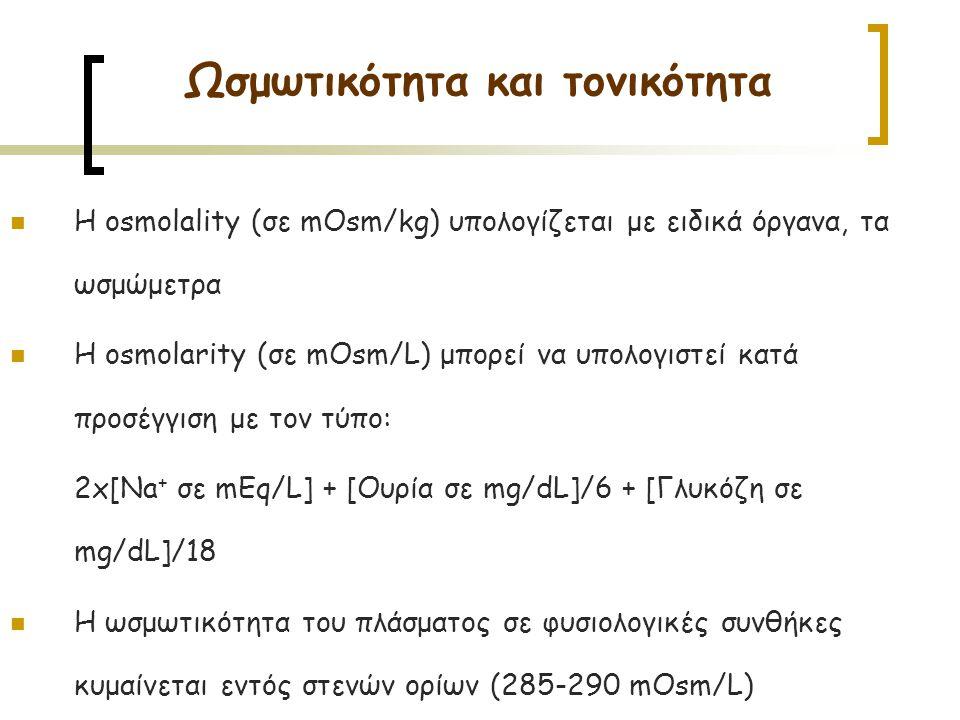 Η osmolality (σε mOsm/kg) υπολογίζεται με ειδικά όργανα, τα ωσμώμετρα Η osmolarity (σε mOsm/L) μπορεί να υπολογιστεί κατά προσέγγιση με τον τύπο: 2x[Na + σε mEq/L] + [Ουρία σε mg/dL]/6 + [Γλυκόζη σε mg/dL]/18 H ωσμωτικότητα του πλάσματος σε φυσιολογικές συνθήκες κυμαίνεται εντός στενών ορίων (285-290 mOsm/L) Ωσμωτικότητα και τονικότητα