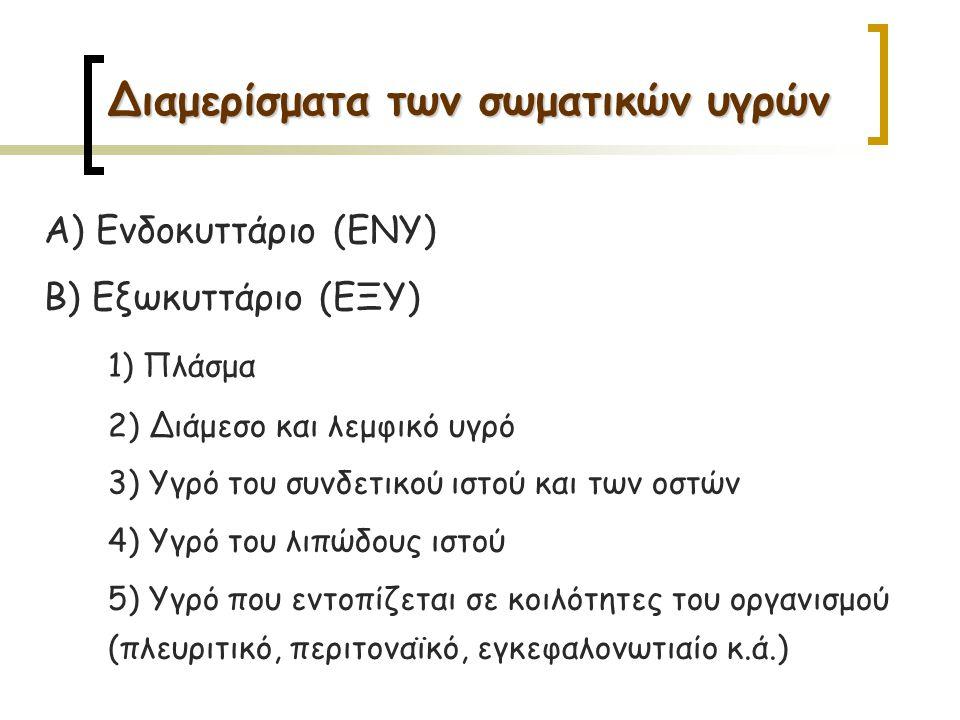 Α) Ενδοκυττάριο (ΕΝΥ) Β) Εξωκυττάριο (ΕΞΥ) 1) Πλάσμα 2) Διάμεσο και λεμφικό υγρό 3) Υγρό του συνδετικού ιστού και των οστών 4) Υγρό του λιπώδους ιστού 5) Υγρό που εντοπίζεται σε κοιλότητες του οργανισμού (πλευριτικό, περιτοναϊκό, εγκεφαλονωτιαίο κ.ά.)