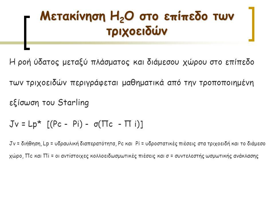 H ροή ύδατος μεταξύ πλάσματος και διάμεσου χώρου στο επίπεδο των τριχοειδών περιγράφεται μαθηματικά από την τροποποιημένη εξίσωση του Starling Jv = Lp* [(Pc - Pi) - σ(Πc - Π i)] Jv = διήθηση, Lp = υδραυλική διαπερατότητα, Pc και Pi = υδροστατικές πιέσεις στα τριχοειδή και το διάμεσο χώρο, Πc και Πi = οι αντίστοιχες κολλοειδωσμωτικές πιέσεις και σ = συντελεστής ωσμωτικής ανάκλασης Μετακίνηση H 2 O στο επίπεδο των τριχοειδών