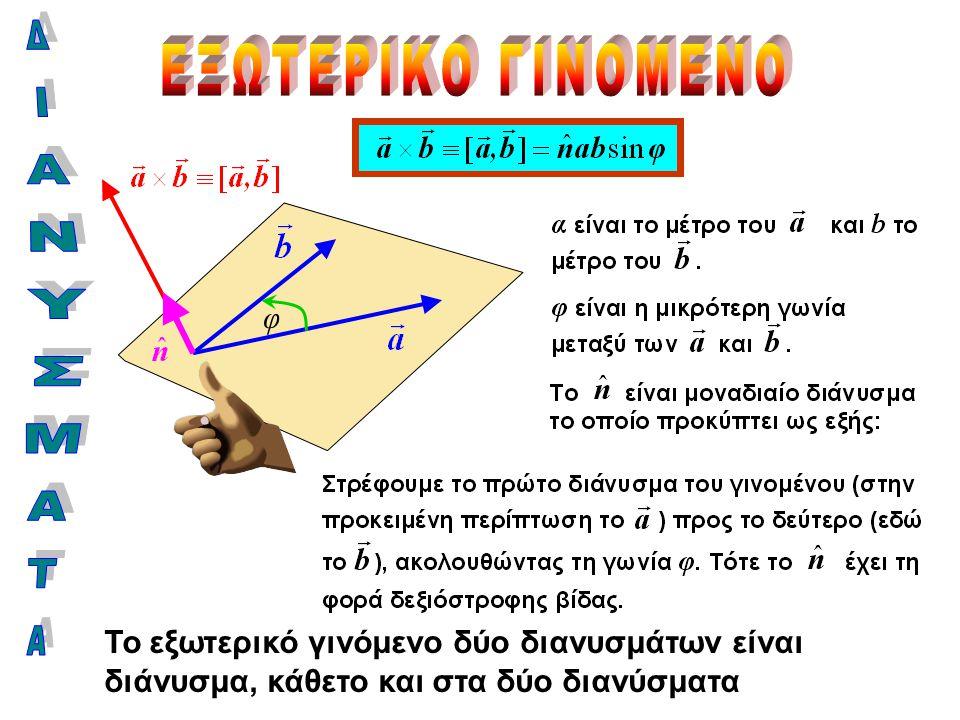 φ Το εξωτερικό γινόμενο δύο διανυσμάτων είναι διάνυσμα, κάθετο και στα δύο διανύσματα