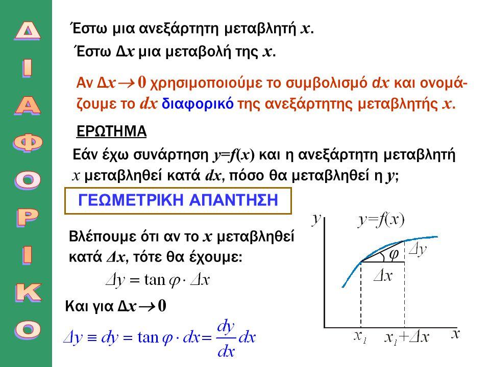 Έστω μια ανεξάρτητη μεταβλητή x. Έστω Δ х μια μεταβολή της x. Αν Δ х  0 χρησιμοποιούμε το συμβολισμό d x και ονομά- ζουμε το dx διαφορικό της ανεξάρτ