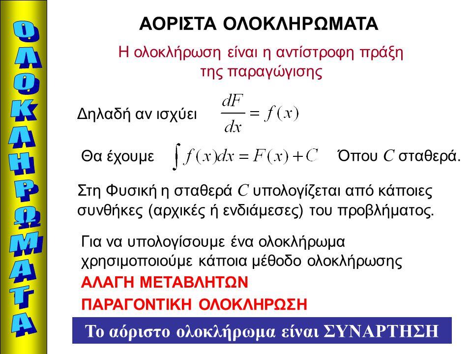 ΑΟΡΙΣΤΑ ΟΛΟΚΛΗΡΩΜΑΤΑ Η ολοκλήρωση είναι η αντίστροφη πράξη της παραγώγισης Δηλαδή αν ισχύει Θα έχουμε Όπου C σταθερά. Στη Φυσική η σταθερά C υπολογίζε