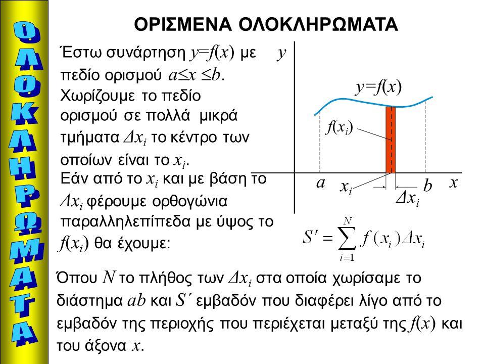 ΟΡΙΣΜΕΝΑ ΟΛΟΚΛΗΡΩΜΑΤΑ x y y=f(x) a b Έστω συνάρτηση y=f(x) με πεδίο ορισμού a  x  b. Χωρίζουμε το πεδίο ορισμού σε πολλά μικρά τμήματα Δx i το κέντρ