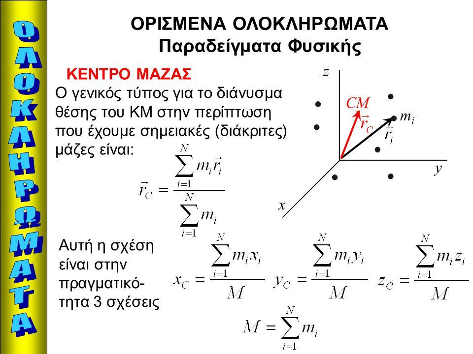ΟΡΙΣΜΕΝΑ ΟΛΟΚΛΗΡΩΜΑΤΑ Παραδείγματα Φυσικής ΚΕΝΤΡΟ ΜΑΖΑΣ mimi x y z CM Ο γενικός τύπος για το διάνυσμα θέσης του ΚΜ στην περίπτωση που έχουμε σημειακές