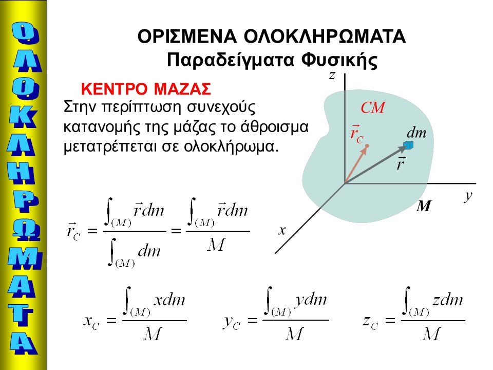 ΟΡΙΣΜΕΝΑ ΟΛΟΚΛΗΡΩΜΑΤΑ Παραδείγματα Φυσικής ΚΕΝΤΡΟ ΜΑΖΑΣ Στην περίπτωση συνεχούς κατανομής της μάζας το άθροισμα μετατρέπεται σε ολοκλήρωμα. x y z CM Μ