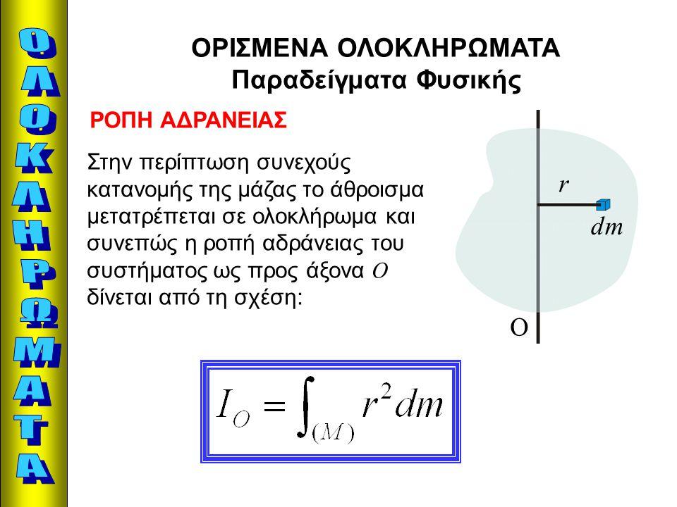 ΟΡΙΣΜΕΝΑ ΟΛΟΚΛΗΡΩΜΑΤΑ Παραδείγματα Φυσικής ΡΟΠΗ ΑΔΡΑΝΕΙΑΣ r dm O Στην περίπτωση συνεχούς κατανομής της μάζας το άθροισμα μετατρέπεται σε ολοκλήρωμα κα